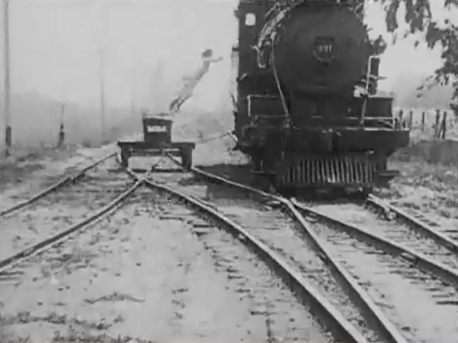 Gibson leaps onto a train in The Governor's Special (1916) (Silent Hall of Fame)